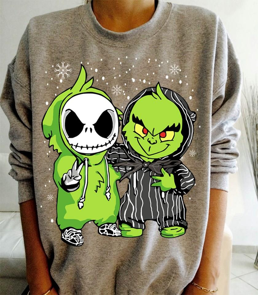 Baby Jack Skellington and Baby Grinch Shirt