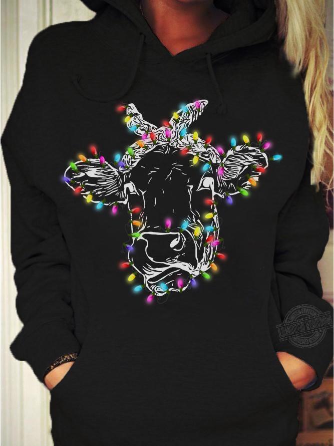 Face Cow Light Christmas Shirt