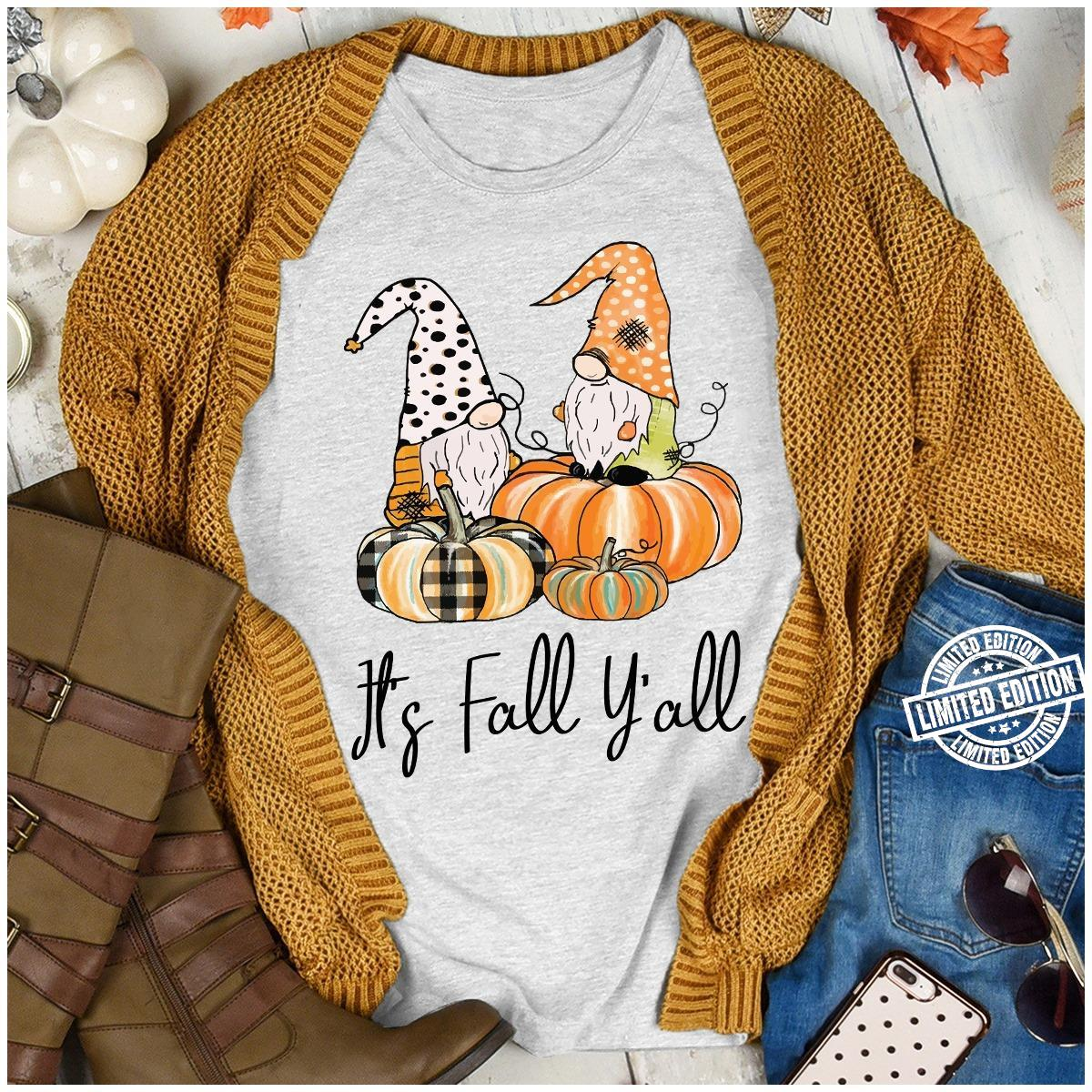 Halloween gnomes and pumpkin it's fall y'all shirt