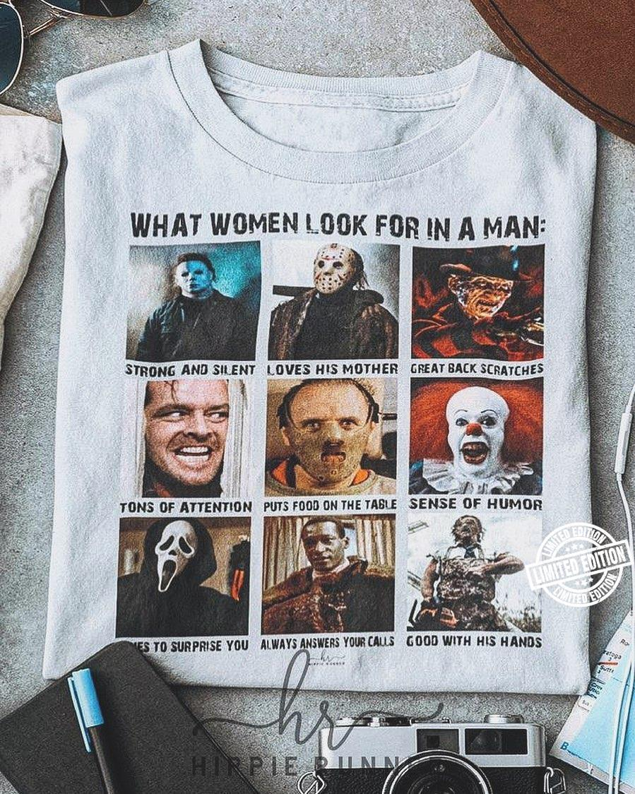 Halloween horror characters what women look for in a man shirt