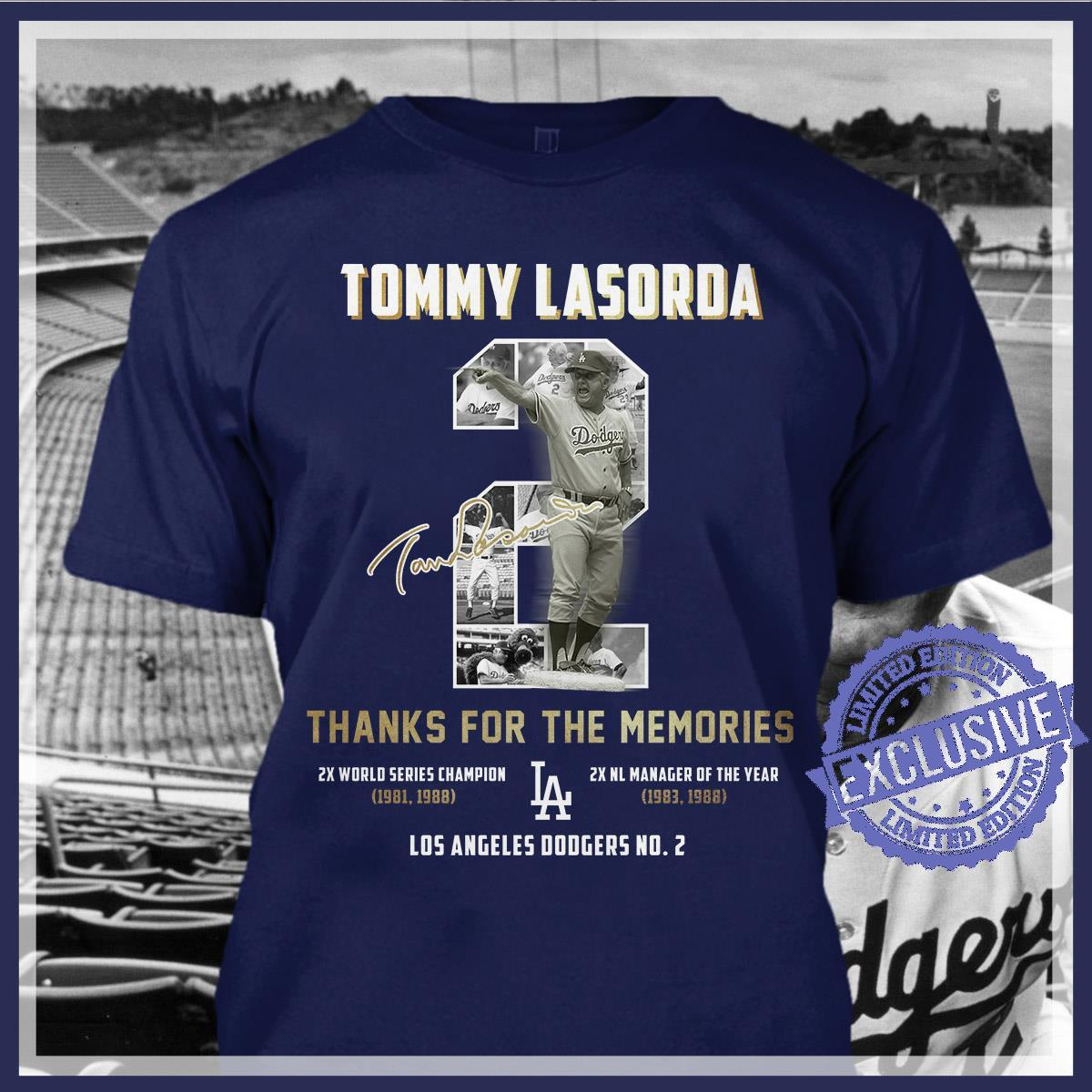 Tommy lasorda thanks for the memories shirt